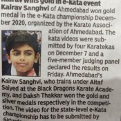 Karate Achievements in 2020-21 of Kairav Sanghvi from grade 6, St. Kabir Navrangpura